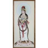 """Rollbild """"Guanyin auf Lotusblüte"""" (Reines Triptychon)"""