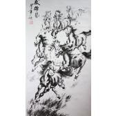 """Rollbild, chinesische Malerei """"8 Wilde Pferde"""", Xu Beihong"""