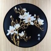 "Großes Strohbild ""Magnolienblüte"", Deko-Bild"