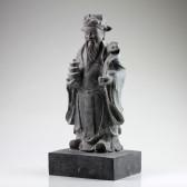 """Steinskulptur """"Lu Xing"""", chinesischer Glücksgott, massive Steinstatue groß"""
