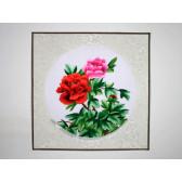 """Stickbild """"Rosa-rote Pfingstrose"""", Wandbild Blumen"""