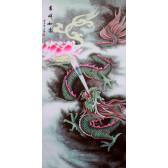 """Stoffbild """"Lotusdrache"""", chinesisches Rollbild"""