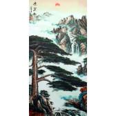"""Stoffbild """"Morgengruß"""", chinesisches Rollbild"""