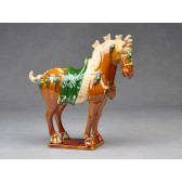 "Tang-Pferd ""Parade"" (hell), chinesisches Keramik Pferd"