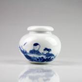 """Teedose """"Kinder am Teich"""", chinesische Keramik"""