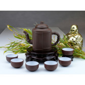"Yixing Teeservice ""Bambushain"", Ton-Teekanne groß"