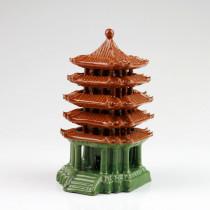 Chinesische Keramik-Pagode quadratisch, Bonsai Garten-Deko