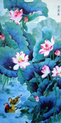 """Rollbild """"Lotusteich"""", chinesische Bildrolle aus Stoff"""