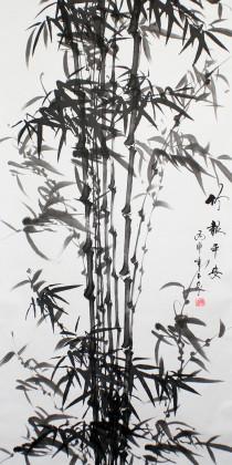 Bambus-Rollbild Tuschezeichnung