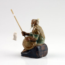 Bonsai-Figur Angler hellgrün, chinesische Keramikfigur