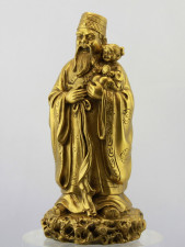 Glücksgott Fu Xing, goldfarbene Messingfigur