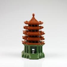 Chinesische Keramik-Pagode quadratisch, Bonsai Garten-Deko (XL)