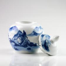 Chinesische Teedose Porzellan mit Aromaverschluß, Teeurne (groß)