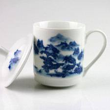 Teetasse Porzellan mit Deckel, chinesische Teetasse blau-weiß