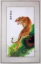 Stickbild Tiger, chinesisches Tiger-Bild aus Stoff