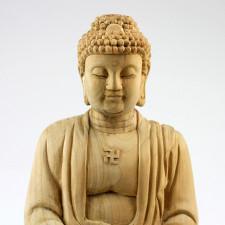 Holzskulptur Buddha Amitabha, chinesische Holzfigur