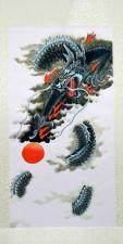 Rollbild Drache, japanischer Stil, Druck auf Stoff