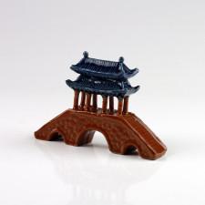 Keramik-Figur Pavillonbrücke, Gartendeko Bonsai-Keramik (L)