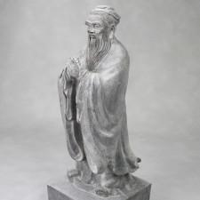 Konfuzius Statue Stein, Steinskulptur Kong Zi groß