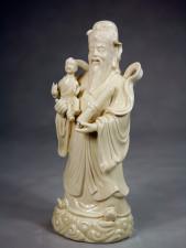 Porzellanfigur Glücksgott Lu Xing - Sanxing - Blanc de Chine