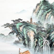 Rollbild Dschunke vor der Küste, chinesische Landschaftsmalerei