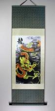 Rollbild chinesischer Drache auf Stoff, gelb-orange