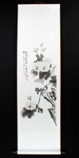 Rollbild Chrysantheme schwarz-weiß