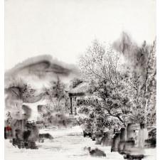 """An Ping Ping """"Kleines Haus in den Bergen"""", chinesische Malerei"""