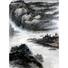 """Peng Guo Lan """"Fährenüberfahrt"""", chinesische Malerei"""