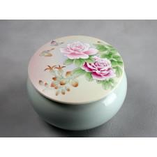 "Porzellan Bonbonniere ""Schmetterlinge in Rosen"" (Weiß)"