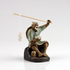 Chinesische Figur Angler Bonsaifigur hellgrün, Keramikfigur