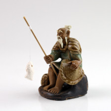Chinesische Figur Angler Bonsai-Figur, Keramikfigur