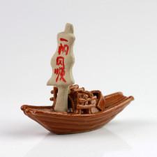 """Keramik-Figur """"Sampan"""" asiatisches Segelboot, Bonsai-Deko"""