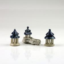 """Bonsai-Figuren Set """"Zum Teehaus"""", Keramikfiguren 3-er Set"""