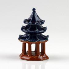 "Bonsai-Figur ""Tempel-Pagode"", Keramikfigur mit Schwingdächern"