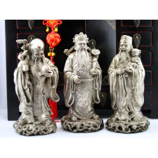 Fu Lu und Shou Metall-Figuren Set Sanxing Messing silberfarben
