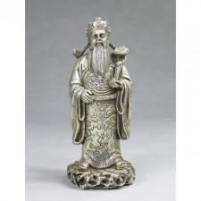 """Bronzefigur """"Glücksgott Lu"""", silberfarben"""
