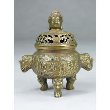 """Bronzebehälter """"Buddha und Elefant"""""""