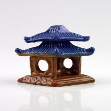 """Keramikfigur """"Pavillon-Tempel"""" rautenförmig, Garten-Bonsai-Deko"""
