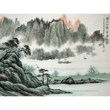 """Chinesische Tuschezeichnung """"Spiegelsee"""", Originalbild von Peng Guo Lan"""