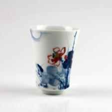 """Porzellanvase """"Fische im Lotus im Mondschein"""", kleine chinesische Vase Unikat"""