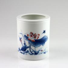 """Chinesische Porzellan-Vase """"Roter Lotus"""", Stiftehalter Porzellan"""
