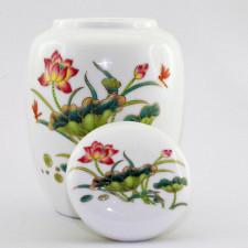 """Teedose Porzellan """"Roter Lotus"""", chinesische Keramik"""
