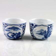 "Chinesische Porzellan-Teetassen ""Idyllische Berglandschaft"", (Sammlertassen Paar No.2)"
