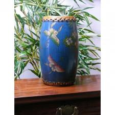 """Chinesische Trommel """"Schmetterling im Tropenwald"""", blau Holz mit Messing Beschlag"""