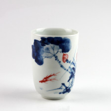 """Porzellanvase """"Fische im Lotosteich"""", kleine chinesische Vase Unikat"""