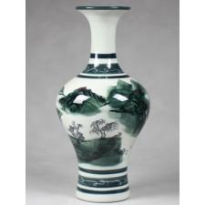 """Chinesische Vase Porzellan grün """"Fischer am Fluss"""""""