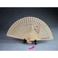 """Chinesischer Holzfächer """"Orchideenpracht"""", Handfächer"""