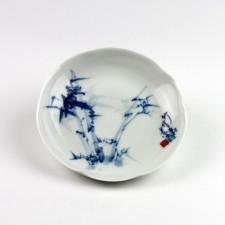"""Porzellanteller """"Bambus"""", chinesisches Porzellan blau-weiß"""