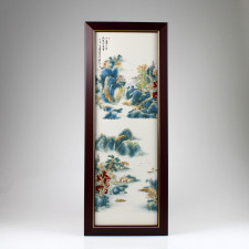 """Porzellanbild """"Pavillon am Fluß I"""", asiatische Wanddeko Keramik"""